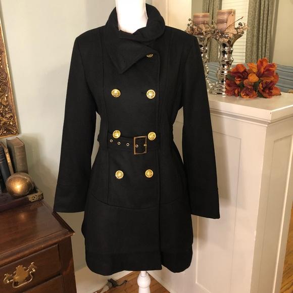 attention Jackets & Blazers - Classy Black Wool Blend Pea Coat Belted Dress Coat